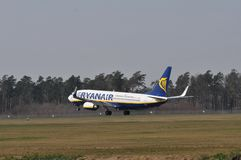 Ryanair plane. This is a view of plane Ryanair lines. March 31, 2014. Airport Lublin in Swidnik, Poland Stock Image