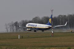 Ryanair plane. This is a view of plane Ryanair lines. March 31, 2014. Airport Lublin in Swidnik, Poland Royalty Free Stock Photo
