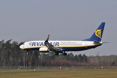Ryanair plane. This is a view of plane Ryanair lines. March 31, 2014. Airport Lublin in Swidnik, Poland Stock Photography