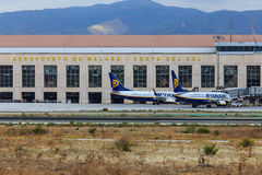 Ryanair sprutar ut på Malaga Royaltyfri Bild