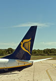 Ryanair symbol airplane tail in Pula airport. Stock Photo