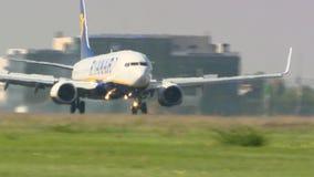 Ryanair 737 touchdown in Otopeni Bucharest stock video footage
