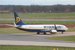 Ryanair UK. BIRMINGHAM, UK - APRIL 24, 2013: Pilots taxi Ryanair Boeing 737 at Birmingham Airport, UK. Ryanair carried 81.4 million passengers in 2013 Stock Photography