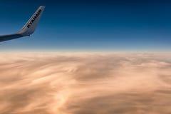 Ryanair wing at sunset stock image