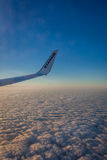 Ryanair wing at sunset Stock Images