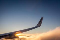 Ryanair wing at sunset stock photos