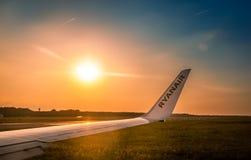 Ryanair wing at sunset Royalty Free Stock Photo