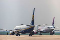 Ryanair and wizz air airplane on ground  at dortmund 21 airport germany stock image
