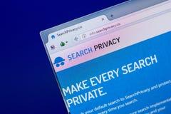 Ryazan, Ρωσία - 16 Απριλίου 2018 - αρχική σελίδα του ιστοχώρου ιδιωτικότητας αναζήτησης στην επίδειξη του PC, url - SearchPrivacy Στοκ Φωτογραφία