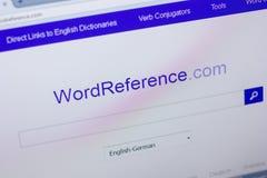 Ryazan, Ρωσία - 16 Απριλίου 2018 - αρχική σελίδα του ιστοχώρου WordReference στην επίδειξη του PC, url - WordReference COM Στοκ Εικόνα