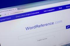 Ryazan, Ρωσία - 16 Απριλίου 2018 - αρχική σελίδα του ιστοχώρου WordReference στην επίδειξη του PC, url - WordReference COM Στοκ φωτογραφίες με δικαίωμα ελεύθερης χρήσης