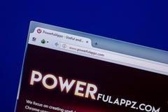 Ryazan, Ρωσία - 16 Απριλίου 2018 - αρχική σελίδα PowerfulAppz στην επίδειξη του PC, url - powerfulappz COM Στοκ Εικόνα