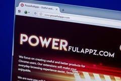 Ryazan, Ρωσία - 16 Απριλίου 2018 - αρχική σελίδα PowerfulAppz στην επίδειξη του PC, url - powerfulappz COM Στοκ Εικόνες
