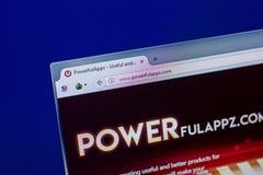 Ryazan, Ρωσία - 16 Απριλίου 2018 - αρχική σελίδα PowerfulAppz στην επίδειξη του PC, url - powerfulappz COM Στοκ φωτογραφίες με δικαίωμα ελεύθερης χρήσης