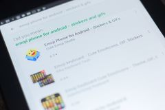Ryazan, Ρωσία - 19 Απριλίου 2018 - τηλέφωνο Emoji για το αρρενωπό εικονίδιο στον κατάλογο κινητών apps Στοκ εικόνες με δικαίωμα ελεύθερης χρήσης