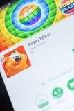 Ryazan, Ρωσία - 19 Απριλίου 2018 - Toon Blast κινητό app στην επίδειξη του PC ταμπλετών Στοκ Φωτογραφίες