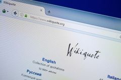 Ryazan, Ρωσία - 26 Αυγούστου 2018: Αρχική σελίδα του ιστοχώρου αποσπάσματος Wiki στην επίδειξη του PC Url - WikiQuote org στοκ εικόνα με δικαίωμα ελεύθερης χρήσης
