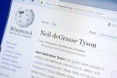 Ryazan, Ρωσία - 28 Αυγούστου 2018: Σελίδα Wikipedia για το Neil deGrasse Tyson στην επίδειξη του PC στοκ εικόνες με δικαίωμα ελεύθερης χρήσης