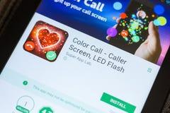 Ryazan, Ρωσία - 3 Ιουλίου 2018: Κλήση χρώματος - η οθόνη επισκεπτών, οδήγησε τη λάμψη κινητό app στην επίδειξη του PC ταμπλετών στοκ εικόνες