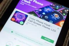 Ryazan, Ρωσία - 3 Ιουλίου 2018: Τηλεφωνική λάμψη χρώματος - θέμα οθόνης κλήσης κινητό app στην επίδειξη του PC ταμπλετών στοκ φωτογραφία με δικαίωμα ελεύθερης χρήσης