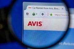 Ryazan, Ρωσία - 11 Ιουλίου 2018: Avis ιστοχώρος COM στην επίδειξη του PC στοκ εικόνες