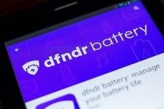 Ryazan, Ρωσία - 3 Ιουλίου 2018: dfndr μπαταρία: διαχειριστείτε τη διάρκεια ζωής μπαταρίας σας κινητό app στην επίδειξη του PC ταμ στοκ εικόνα