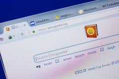 Ryazan, Ρωσία - 17 Ιουνίου 2018: Αρχική σελίδα του ιστοχώρου EmojiPedia στην επίδειξη του PC, url - EmojiPedia org στοκ εικόνες