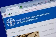 Ryazan, Ρωσία - 17 Ιουνίου 2018: Αρχική σελίδα του ιστοχώρου FAO στην επίδειξη του PC, url - FAO org στοκ εικόνα με δικαίωμα ελεύθερης χρήσης