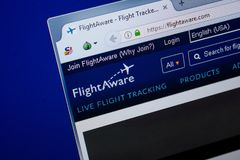 Ryazan, Ρωσία - 26 Ιουνίου 2018: Αρχική σελίδα του ιστοχώρου FlightAware στην επίδειξη του PC URL - FlightAware COM στοκ εικόνες