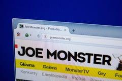 Ryazan, Ρωσία - 26 Ιουνίου 2018: Αρχική σελίδα του ιστοχώρου JoeMonster στην επίδειξη του PC URL - JoeMonster org στοκ εικόνες με δικαίωμα ελεύθερης χρήσης