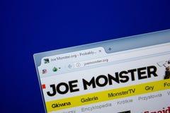 Ryazan, Ρωσία - 26 Ιουνίου 2018: Αρχική σελίδα του ιστοχώρου JoeMonster στην επίδειξη του PC URL - JoeMonster org στοκ φωτογραφία με δικαίωμα ελεύθερης χρήσης