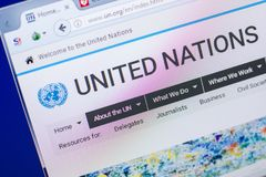 Ryazan, Ρωσία - 20 Μαΐου 2018: Αρχική σελίδα του ιστοχώρου Ηνωμένων Εθνών στην επίδειξη του PC, url - Η.Ε org στοκ εικόνα