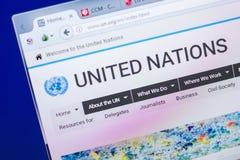 Ryazan, Ρωσία - 20 Μαΐου 2018: Αρχική σελίδα του ιστοχώρου Ηνωμένων Εθνών στην επίδειξη του PC, url - Η.Ε org στοκ φωτογραφία με δικαίωμα ελεύθερης χρήσης