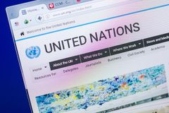 Ryazan, Ρωσία - 20 Μαΐου 2018: Αρχική σελίδα του ιστοχώρου Ηνωμένων Εθνών στην επίδειξη του PC, url - Η.Ε org στοκ εικόνες