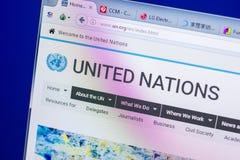 Ryazan, Ρωσία - 20 Μαΐου 2018: Αρχική σελίδα του ιστοχώρου Ηνωμένων Εθνών στην επίδειξη του PC, url - Η.Ε org στοκ εικόνα με δικαίωμα ελεύθερης χρήσης