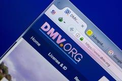 Ryazan, Ρωσία - 20 Μαΐου 2018: Αρχική σελίδα του ιστοχώρου DMV στην επίδειξη του PC, url - DMV org στοκ φωτογραφία με δικαίωμα ελεύθερης χρήσης