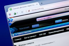 Ryazan, Ρωσία - 27 Μαΐου 2018: Αρχική σελίδα του ιστοχώρου FilmiTorrent στην επίδειξη του PC, url - FilmiTorrent org στοκ φωτογραφία με δικαίωμα ελεύθερης χρήσης