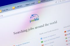 Ryazan, Ρωσία - 27 Μαΐου 2018: Αρχική σελίδα του ιστοχώρου Jooble στην επίδειξη του PC, url - Jooble org στοκ εικόνες με δικαίωμα ελεύθερης χρήσης
