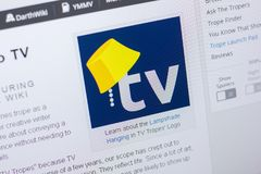 Ryazan, Ρωσία - 20 Μαΐου 2018: Αρχική σελίδα του ιστοχώρου TVTropes στην επίδειξη του PC, url - TVTropes org στοκ εικόνα