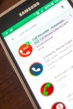 Ryazan, Ρωσία - 4 Μαΐου 2018: Αυτόματο εικονίδιο οργάνων καταγραφής κλήσης στον κατάλογο κινητών apps στην επίδειξη του τηλεφώνου Στοκ Φωτογραφίες