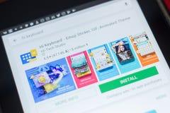 Ryazan, Ρωσία - 16 Μαΐου 2018: Γεια app πληκτρολογίων εικονίδιο ή λογότυπο στον κατάλογο κινητών apps Στοκ Φωτογραφίες