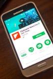 Ryazan, Ρωσία - 4 Μαΐου 2018: Ειδήσεις κινητό app Flipboard στην επίδειξη του τηλεφώνου κυττάρων Στοκ Φωτογραφίες