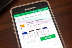 Ryazan, Ρωσία - 4 Μαΐου 2018: Εικονίδιο διευθυντών σελίδων Facebook στον κατάλογο κινητών apps στην επίδειξη του τηλεφώνου κυττάρ Στοκ φωτογραφίες με δικαίωμα ελεύθερης χρήσης