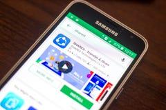 Ryazan, Ρωσία - 4 Μαΐου 2018: Εικονίδιο ShareIt στον κατάλογο κινητών apps στην επίδειξη του τηλεφώνου κυττάρων Στοκ Εικόνα