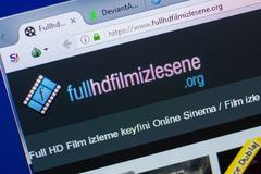 Ryazan, Ρωσία - 13 Μαΐου 2018: Ιστοχώρος FullHDFilmizlesene στην επίδειξη του PC, url - FullHDFilmizlesene org στοκ φωτογραφίες