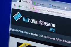 Ryazan, Ρωσία - 13 Μαΐου 2018: Ιστοχώρος FullHDFilmizlesene στην επίδειξη του PC, url - FullHDFilmizlesene org στοκ φωτογραφία με δικαίωμα ελεύθερης χρήσης