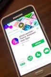 Ryazan, Ρωσία - 4 Μαΐου 2018: Προωθητής κινητό app APUS στην επίδειξη του τηλεφώνου κυττάρων Στοκ Εικόνες