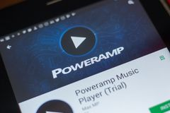 Ryazan, Ρωσία - 16 Μαΐου 2018: Φορέας κινητό app μουσικής Poweramp στην επίδειξη του PC ταμπλετών Στοκ φωτογραφίες με δικαίωμα ελεύθερης χρήσης
