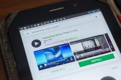 Ryazan, Ρωσία - 16 Μαΐου 2018: App φορέων μουσικής Poweramp εικονίδιο ή λογότυπο στον κατάλογο κινητών apps Στοκ Εικόνες