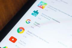 Ryazan, Ρωσία - 21 Μαρτίου 2018 - λογότυπο Google app σε έναν κατάλογο κινητών apps σε ένα PC ταμπλετών Στοκ φωτογραφία με δικαίωμα ελεύθερης χρήσης